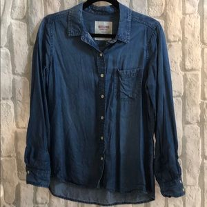 Mossimo Blue Denim Button Down Shirt Large